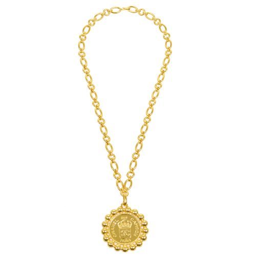 CHANEL CC Logos Jumbo Medallion Motif Gold Chain Pendant Necklace