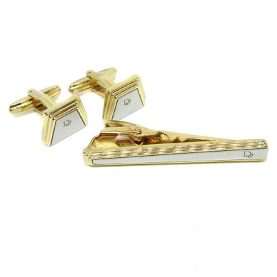 Christian Dior CD Logos Cuffs Button Necktie Pin Set Gold