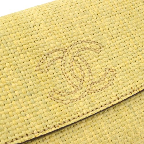 CHANEL CC Logos Clutch Bag Beige Linen