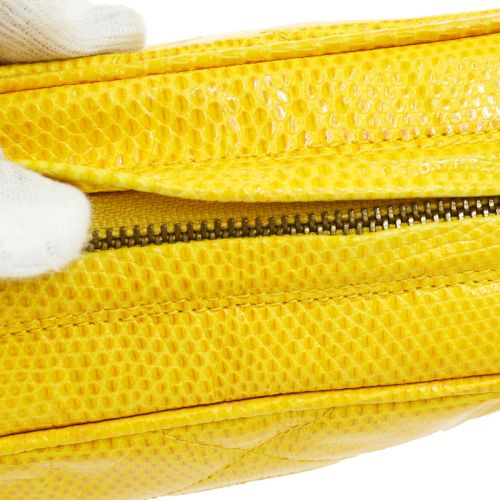 CHANEL Quilted Fringe Chain Shoulder Bag Yellow Lizard