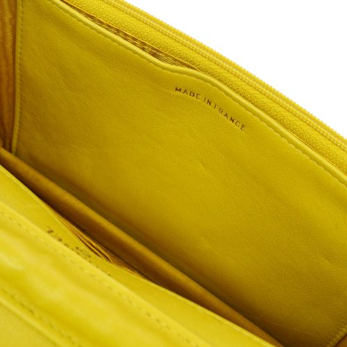 CHANEL Woc Chain Shoulder Wallet Yellow Caviar