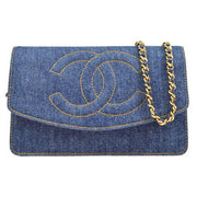 CHANEL Woc Chain Shoulder Wallet Indigo Denim