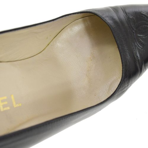 CHANEL Pumps Shoes Black #37 1/2