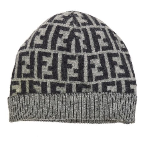 FENDI Zucca Pattern Knitted Cap Had Gray