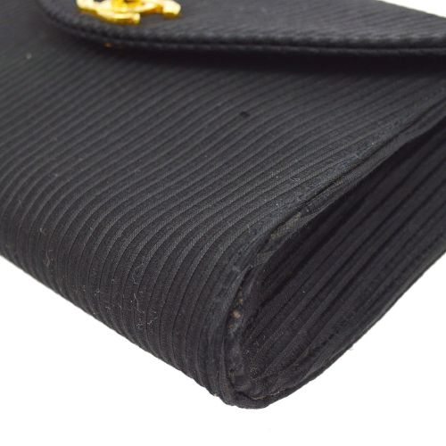 CHANEL CC Logos Clutch Bag Black Satin