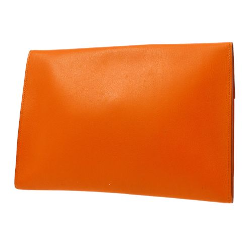 HERMES POCHETTE RIO H Logo Clutch Bag Orange Veau Swift