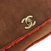CHANEL CC Logos Clutch Bag Brown Mouton Fur