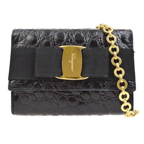 Salvatore Ferragamo Vara Bow Chain Shoulder Bum Bag Black