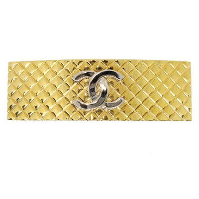 CHANEL CC Logos Quilted Hair Clip Hairpin Barrette Gold 98P