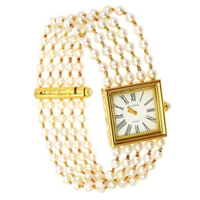 CHANEL CC Mademoiselle Watch Wristwatch Pearl 18K