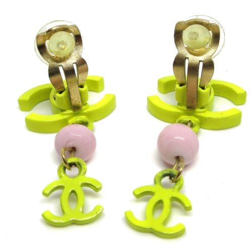 CHANEL CC Logos Shaking Earrings Yellow 03S