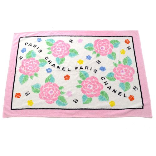 CHANEL Camellia Pattern Beach Towel Pink