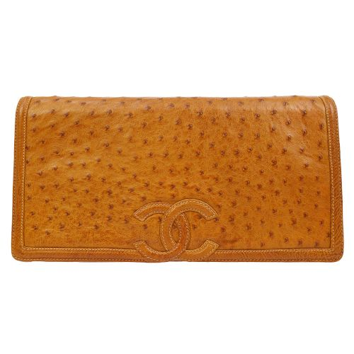 CHANEL CC Logos Clutch Bag Brown Ostrich Skin