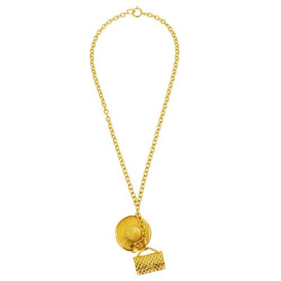 CHANEL CC Logos Bag Hat Motif Gold Chain Pendant Necklace