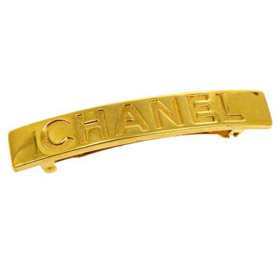 CHANEL CC Logos Hair Clip Hairpin Barrette Gold