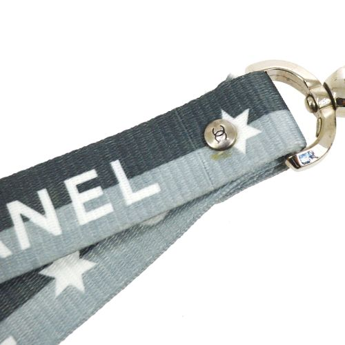 CHANEL CC Logos Star Motif Neck Strap Gray