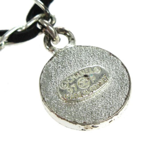 CHANEL CC Logos Medallion Charm Silver Chain Pendant Necklace 97P
