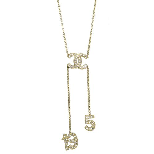 CHANEL CC Logos 5 19 Charm Rhinestone Gold Chain Pendant Necklace 01C