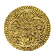 CHANEL CC Logos Medallion Motif Brooch Pin Corsage Gold