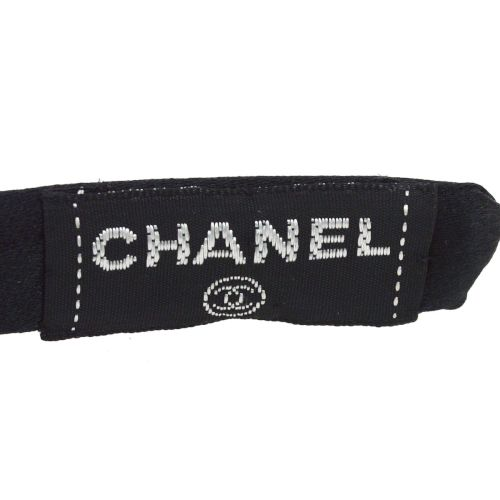 CHANEL Bow Ribbon Headband Hair Accessories Black