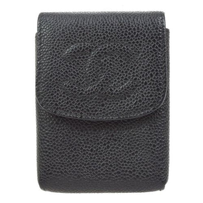 CHANEL CC Logos Cigarette Case Black Caviar Skin