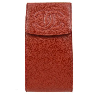 CHANEL CC Logos Multi Pouch Red Caviar Skin