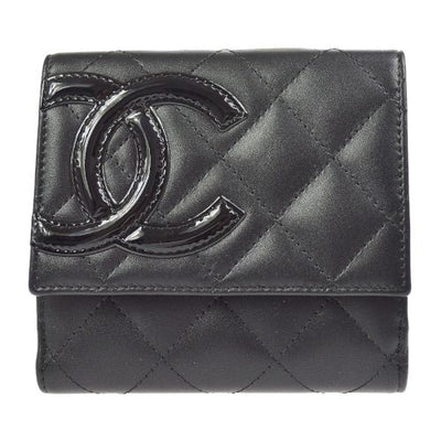 CHANEL Cambon Line Quilted Bifold Wallet Black