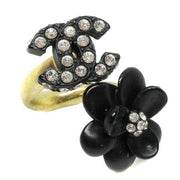 CHANEL Flower Rhinestone Ring Black #6.5 02A
