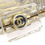 CHANEL Evening Party Clutch Bag Beige Python Skin