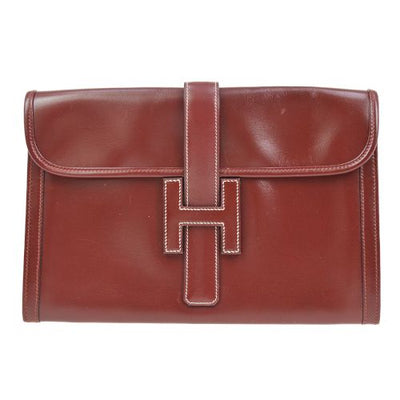 HERMES JIGE PM Clutch Bag Bordeaux Box Calf
