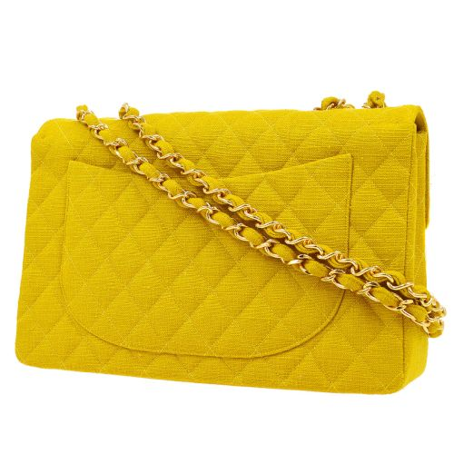 CHANEL Quilted Classic Flap Maxi Shoulder Bag Yellow Canvas