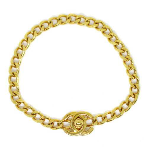 CHANEL CC Logos Turnlock Gold Chain Bracelet