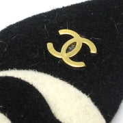 CHANEL Camellia Mini CC Logos Brooch Black White