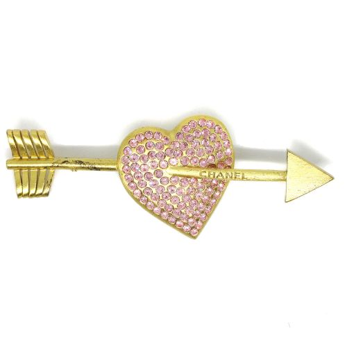 CHANEL Bow And Arrow Heart Rhinestone Brooch Gold