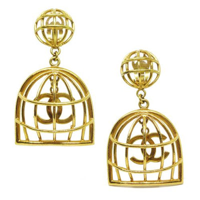 CHANEL CC Logos Birdcage Tangling Earrings Gold from 1992