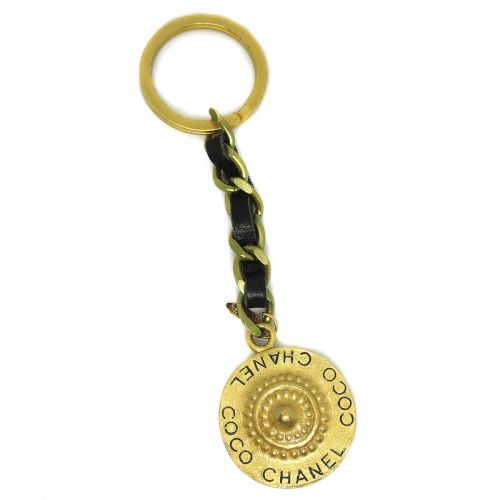 CHANEL COCO Chain Bag Charm Key Holder Ring Gold 95P