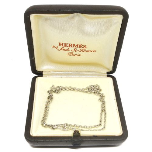 HERMES SV925 Silver Chain Choker Necklace Pendant