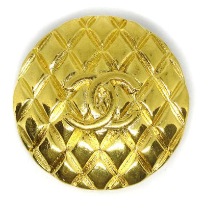 CHANEL CC Logos Quilted Brooch Gold