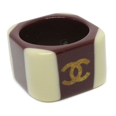 CHANEL CC Logos Ring Brown White #6.5