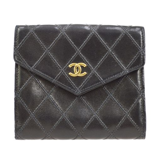 CHANEL Cosmos Line Quilted Bifold Wallet Black