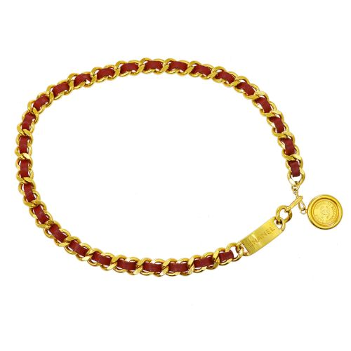 CHANEL Medallion Chain Belt Red Gold