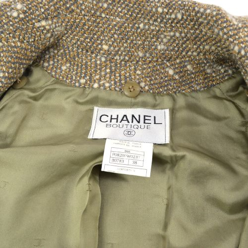 CHANEL Single Breasted Long Sleeve Coat Jacket Brown #38