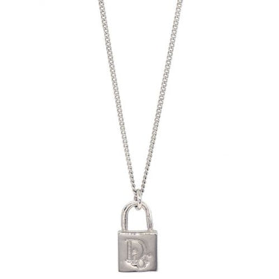 Christian Dior Padlock Charm Silver Chain Pendant Necklace