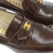 CHANEL Turnlock Heels Loafers Shoes Brown #36 1/2