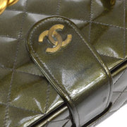CHANEL Quilted Chain Vanity Hand Bag Metallic Green