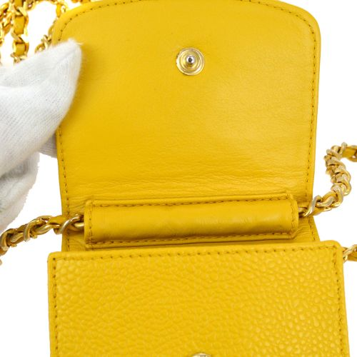 CHANEL Chain Shoulder Bag Phone Case Yellow Caviar Skin