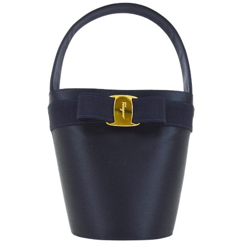Salvatore Ferragamo Vara Bow Hand Bag Navy Satin
