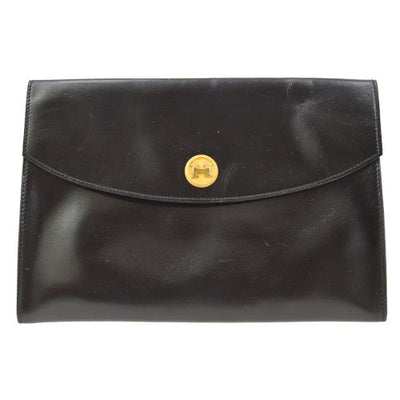 HERMES POCHETTE RIO Clutch Bag Black Box Calf
