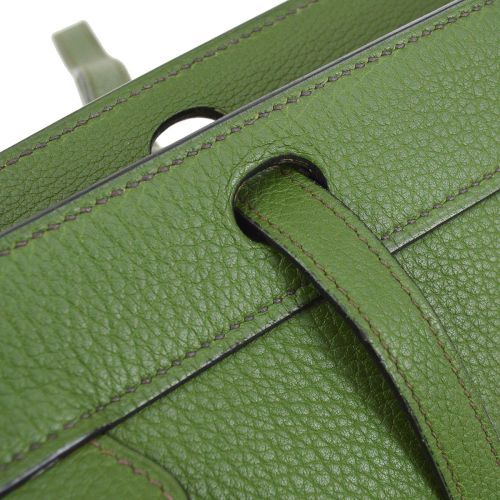 HERMES MUSEAU Shoulder Tote Bag Green Taurillon Clemence