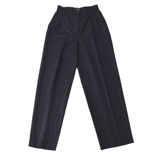 CHANEL Strip Trousers Long Pants Black #40 98P